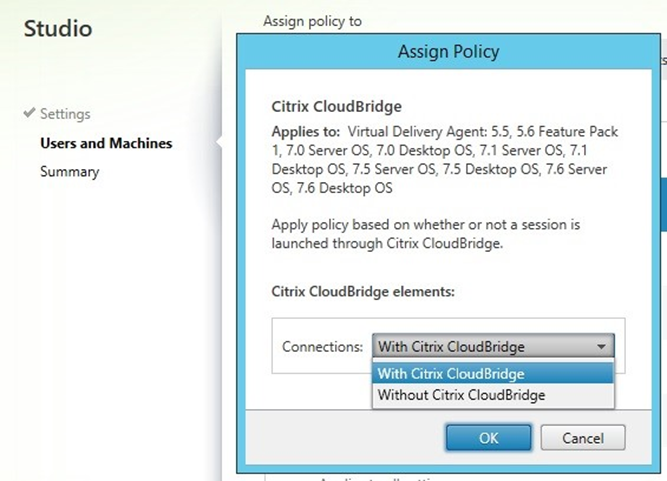 Image showing the policy connections options