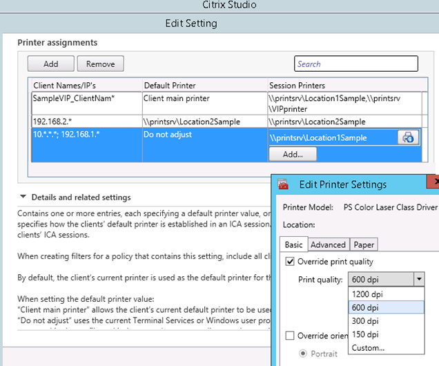 Image showing Citrix Studio printer settings editor