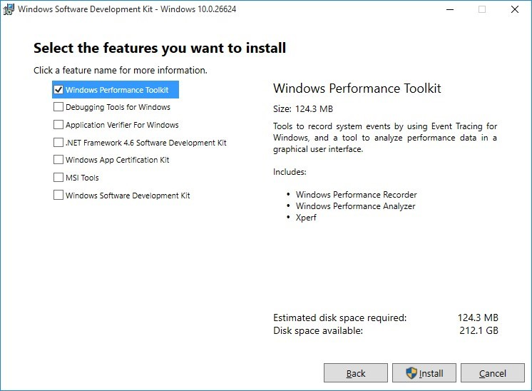 Image of Windows Performance Toolkit feature selected for installation