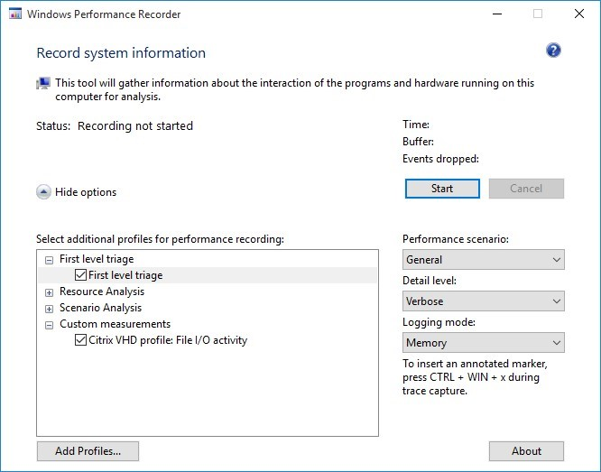 Image of Windows Performance Recorder
