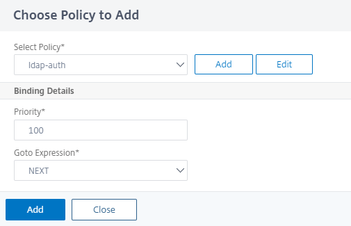 Click to add a policy for LDAP authentication