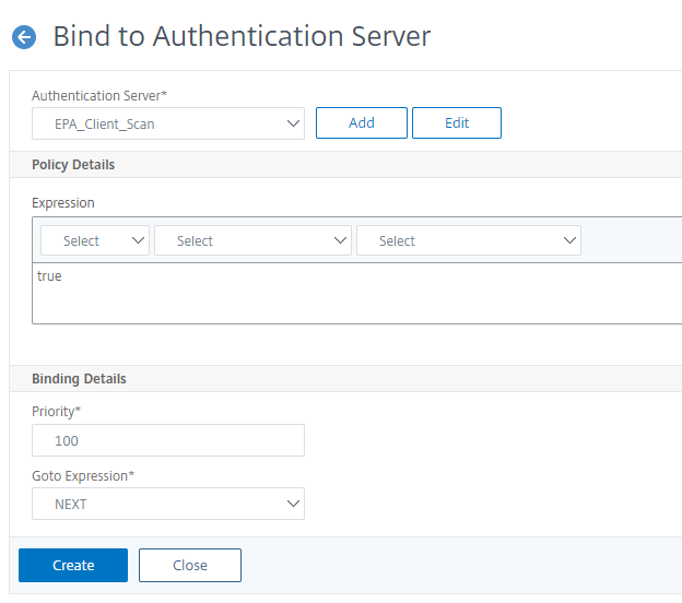 Bind the flow to an authentication virtual server