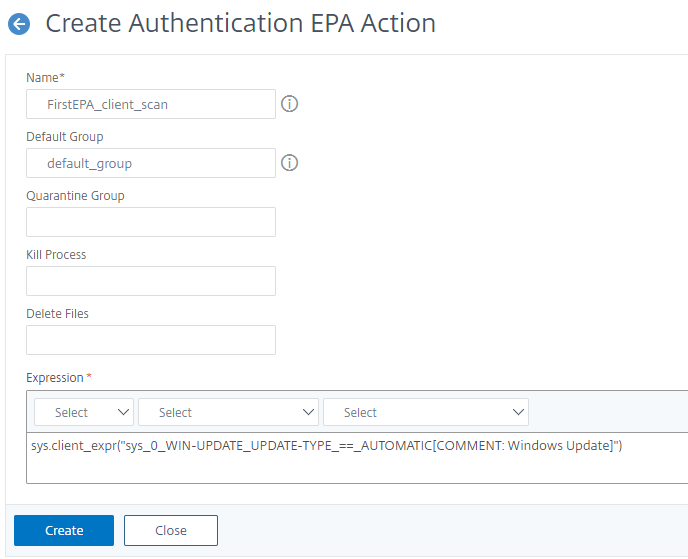 Create first EPA scan