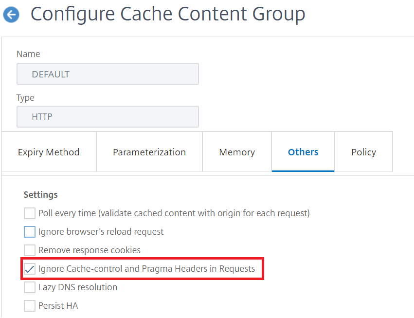 configure Cache-Control and Pragma headers