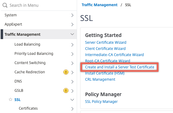 Create and install a server test certificate