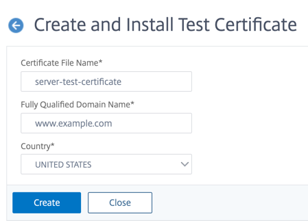 Create and install server test certificate