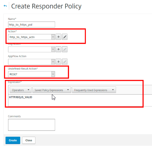 Create Responder policy