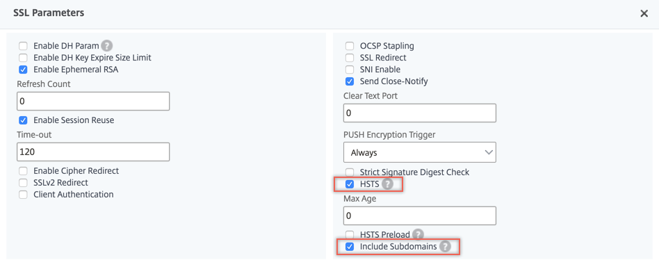 Enable HSTS on virtual server