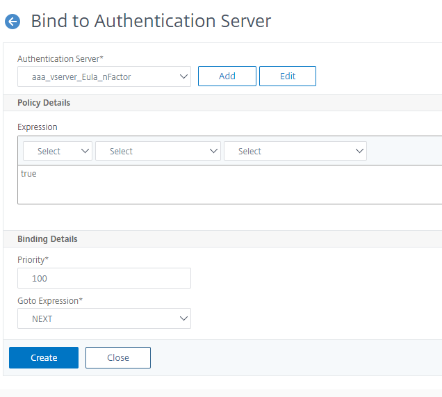Bind the nFactor flow to authentication virtual server