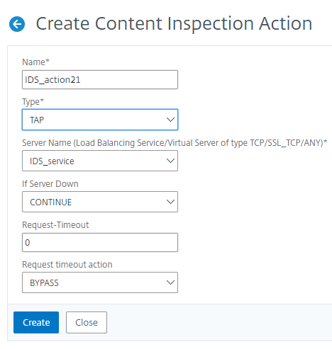Create Content Inspection Action