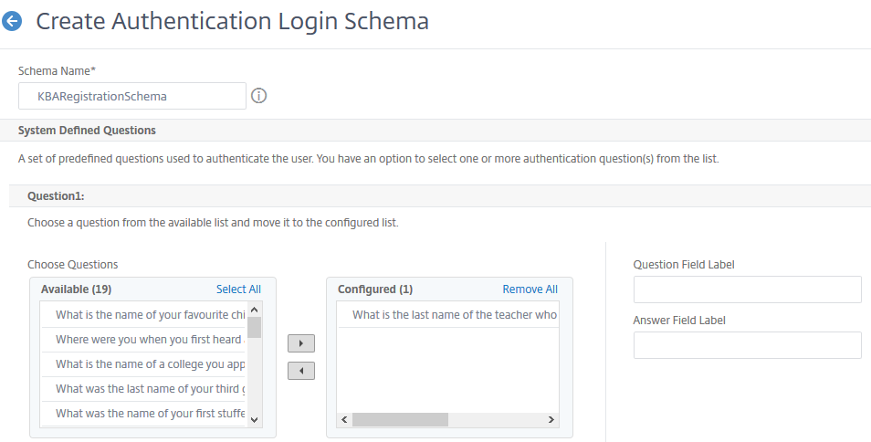 Authentication login schema