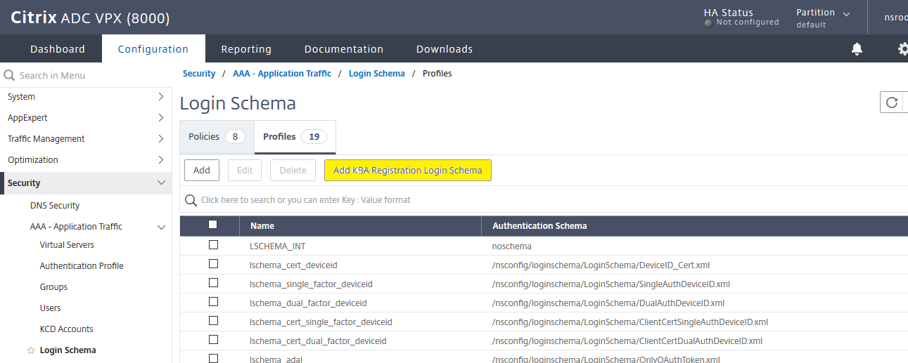 KBA registration login schema