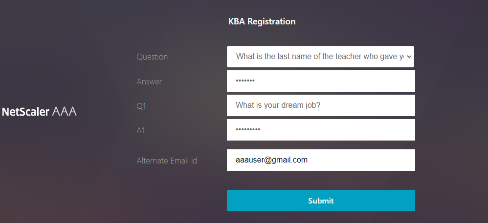 KBA registration logon