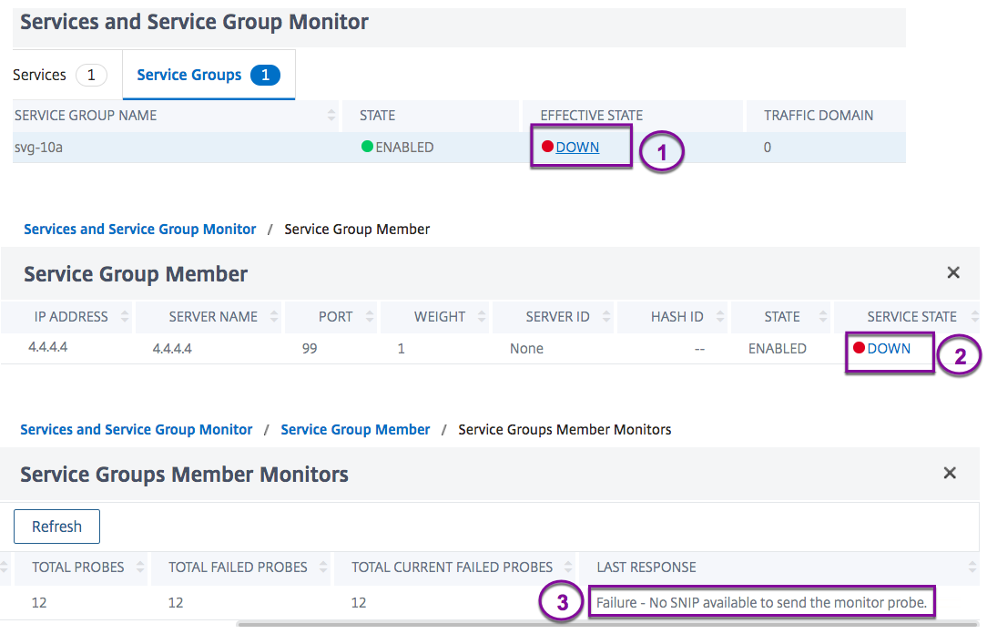Last response column in service-monitor binding page for service group