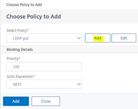 Click add policy