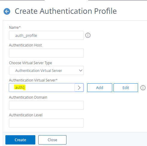Create auth profile