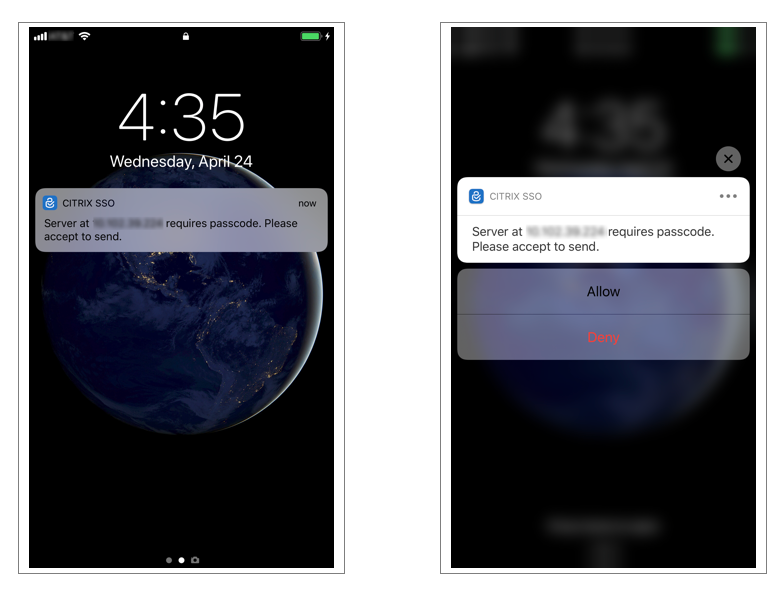 Push notification for OTP