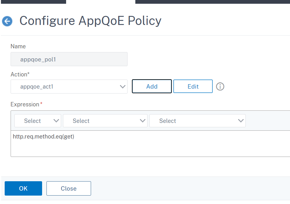 AppQoE policy for request retry or reload balancing