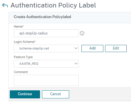 Select auth policy label