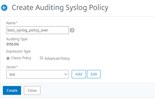 Configuring Citrix ADC appliance for audit logging