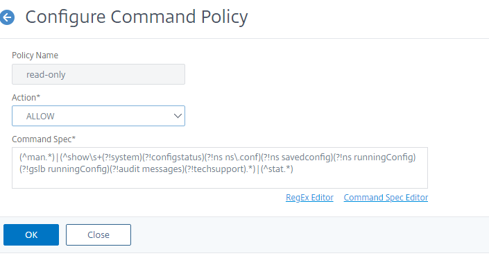 Configure command policies for system user authentication