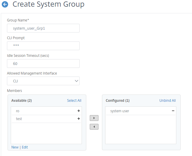 Create system user group on Citrix ADC GUI for user authentication