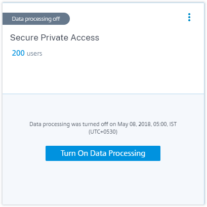 Turn on data processing
