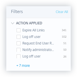 Policies filters