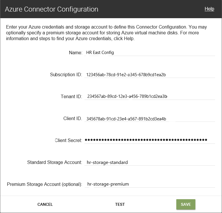 Azure connector configuration