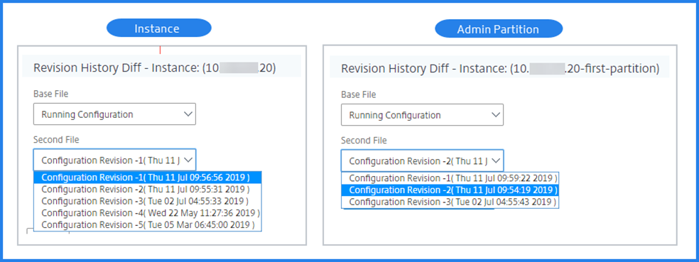 Admin partition and instance's revision history difference