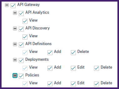 Grant API gateway management permissions