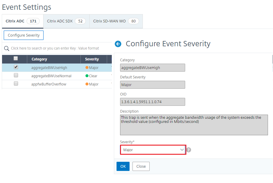 Configure event severity