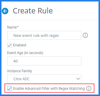 Enable advanced filter with regex matching