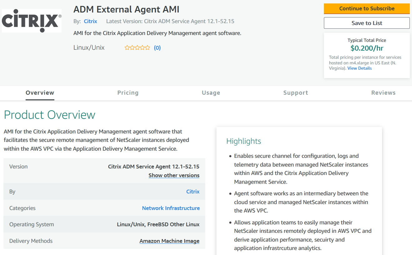 Install Citrix ADM agent on AWS