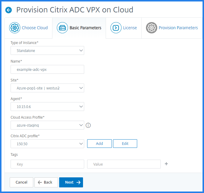 Provisioning Citrix ADC VPX basic parameters