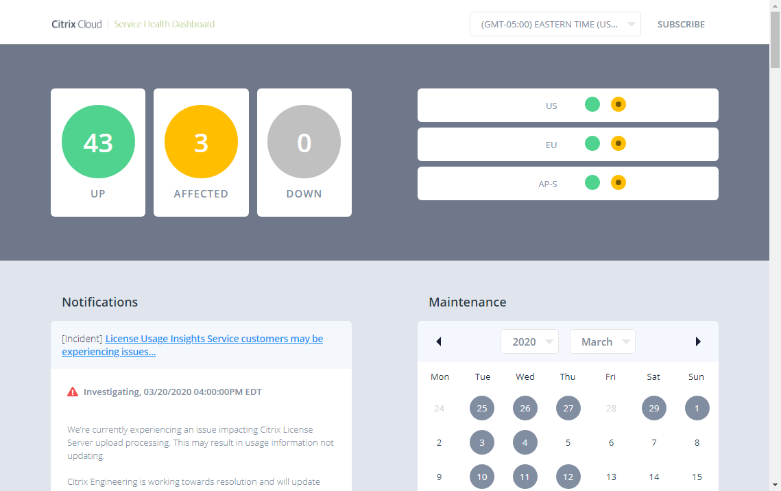 Service Health Dashboard
