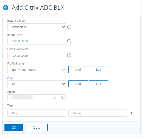 Add Citrix ADC BLX standalone instance to Citrix ADM