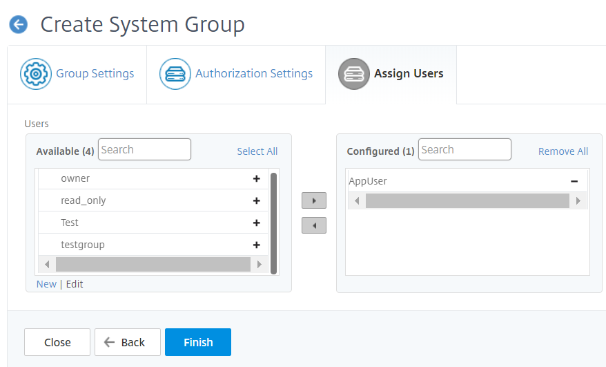Example to create a system group