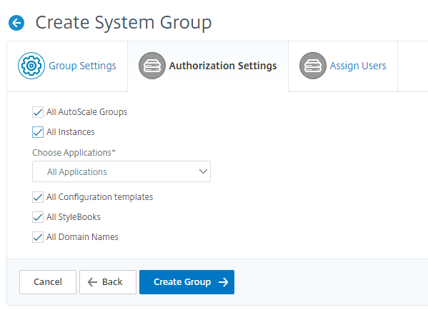 Categories in authorization settings