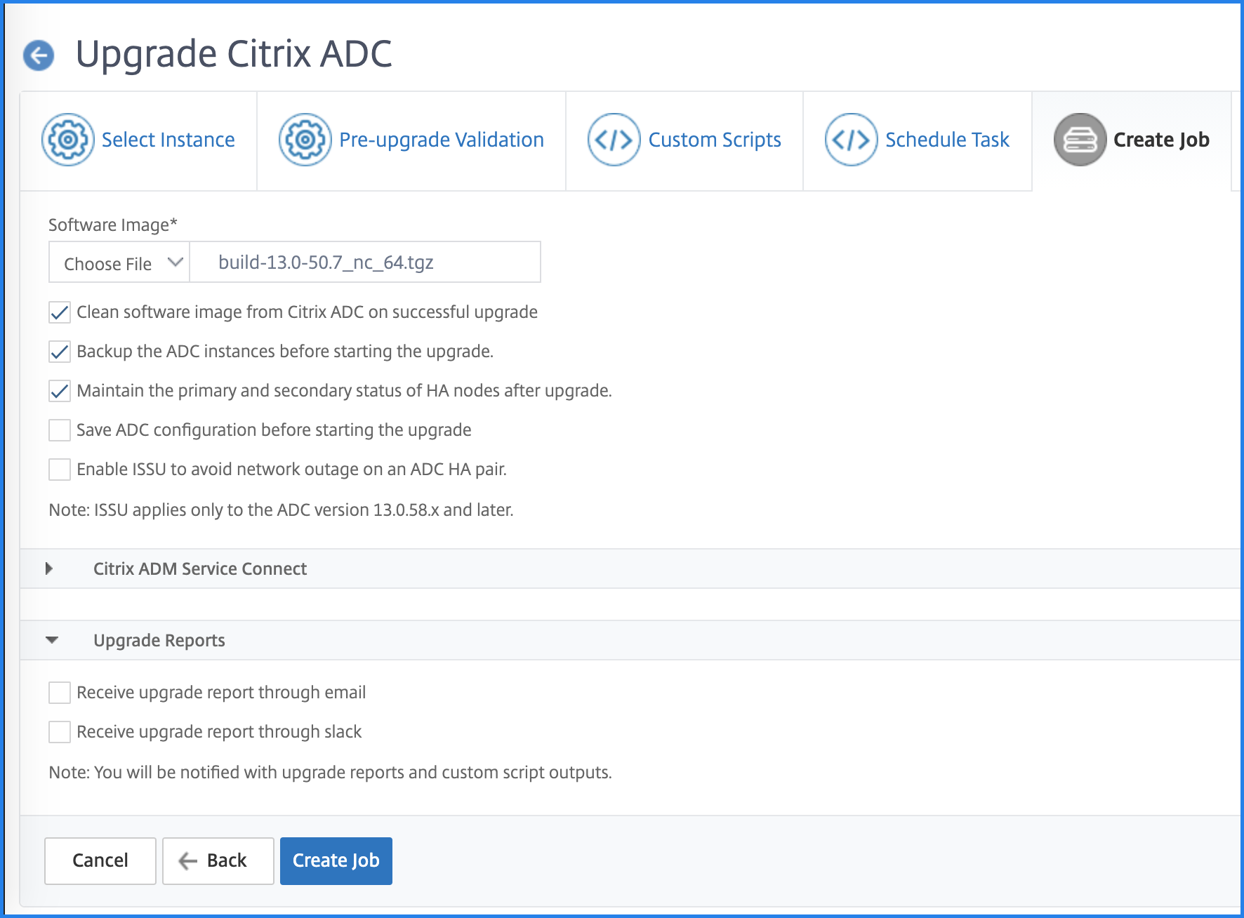 Create upgrade job and upload image to ADC