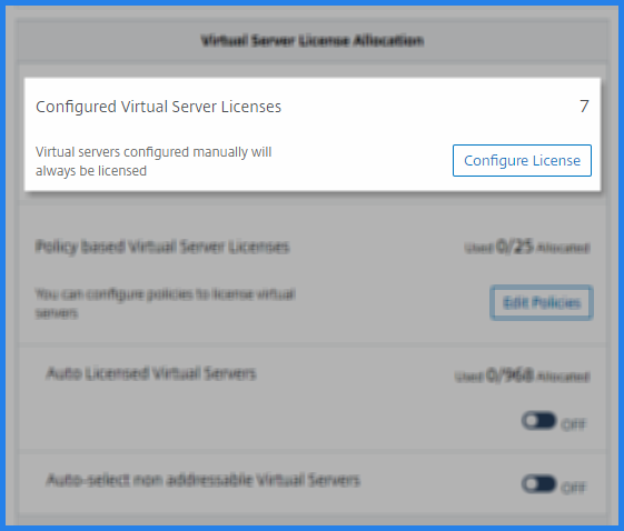 Configure virtual server licenses manually