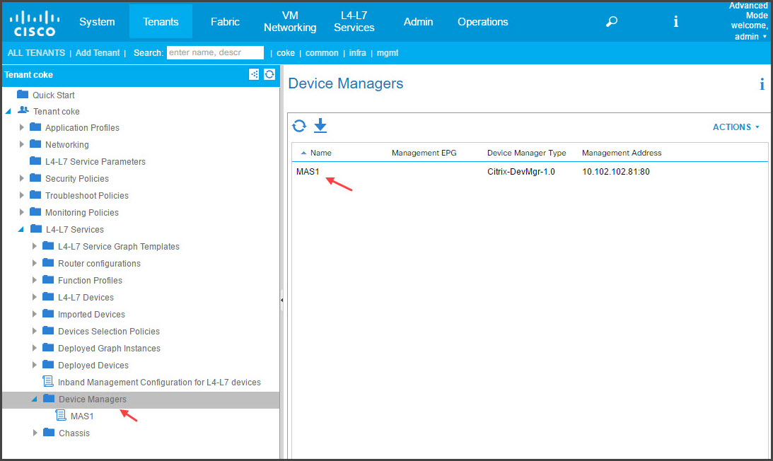Add Citrix ADM as device manager in Cisco APIC