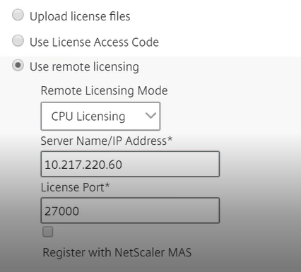 Citrix ADC virtual CPU licensing