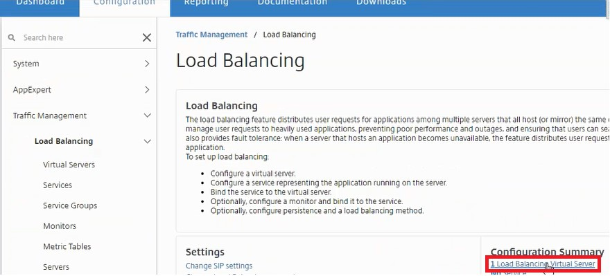 View the load balancer configuration