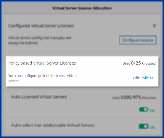 Policy based virtual server licensing