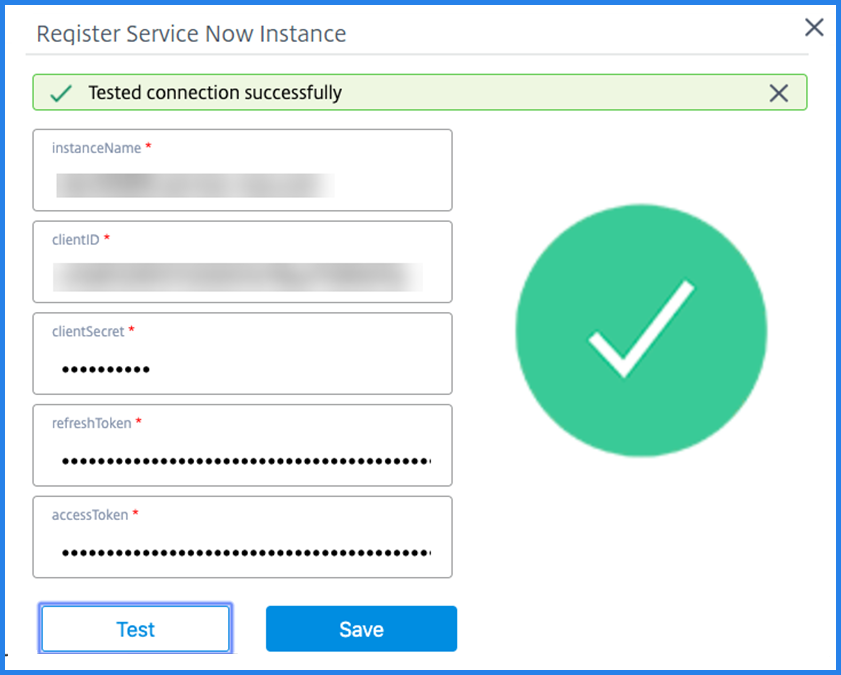 Register ServiceNow instance on ITSM adapter