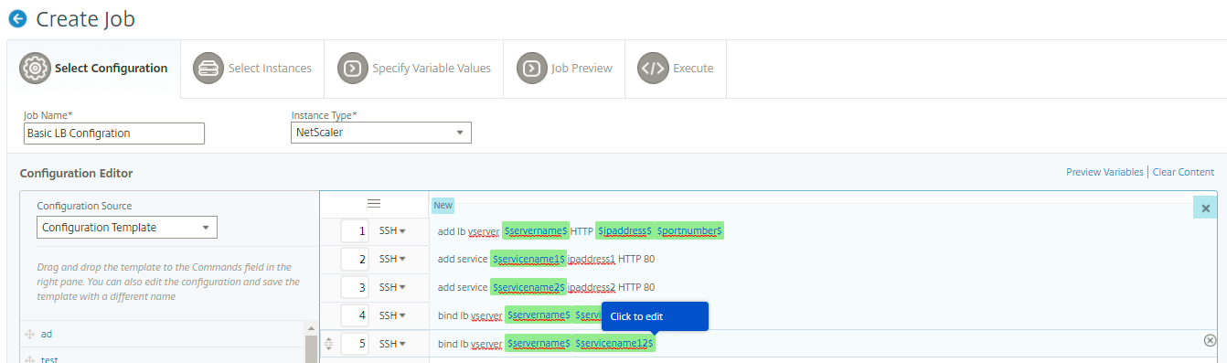 Use variables in configuration jobs