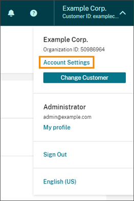 Citrix Cloud Account Settings menu