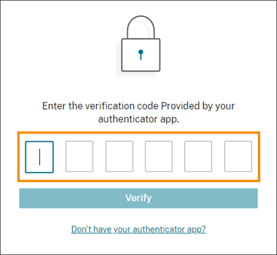 Verification code entry page