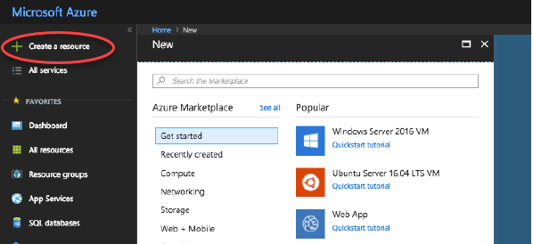 Azure Resource Manager Create a resource screen
